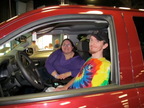 Chris and I testing out the 2014 Mobility SVM Silverado at the New York Metro Abilities Expo in May.
